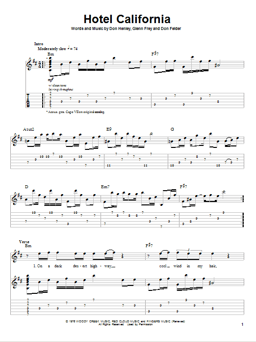 Guitar guitar tablature hotel california : Hotel California sheet music by Eagles (Guitar Tab Play-Along – 80401)