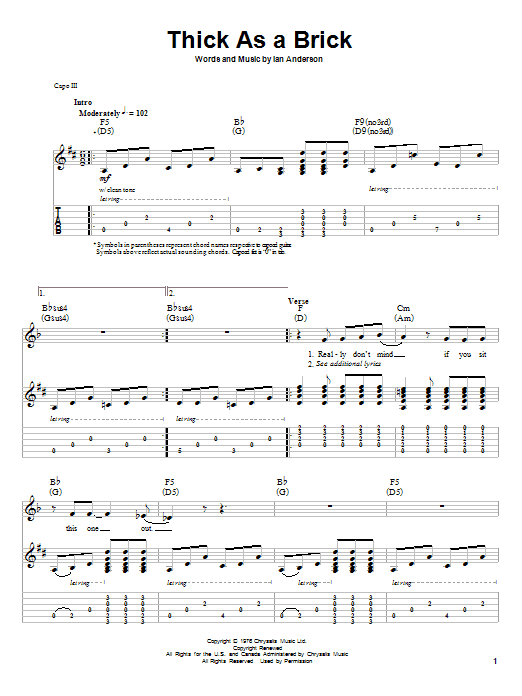 Tablature guitare Thick As A Brick de Jethro Tull - Autre