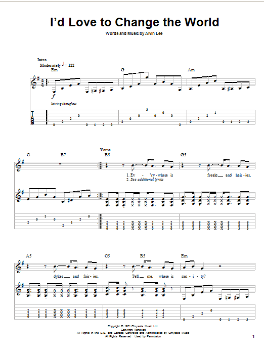 Tablature guitare I'd Love To Change The World de Ten Years After - Autre