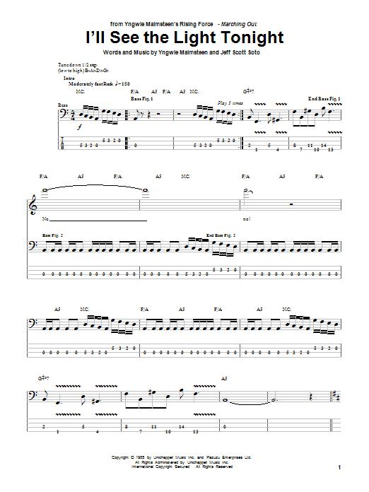 I'll See The Light Tonight (Bass Guitar Tab)