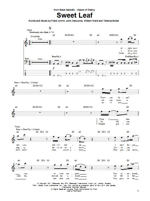 Sweet Leaf (Bass Guitar Tab)