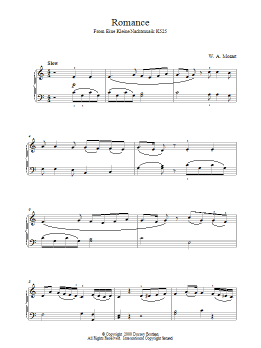 Romance from Eine Kleine Nachtmusik K525 Sheet Music