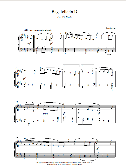 Bagatelle In D Major, Op.33 No.6 Sheet Music