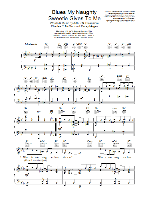 Blues My Naughty Sweetie Gives To Me Sheet Music
