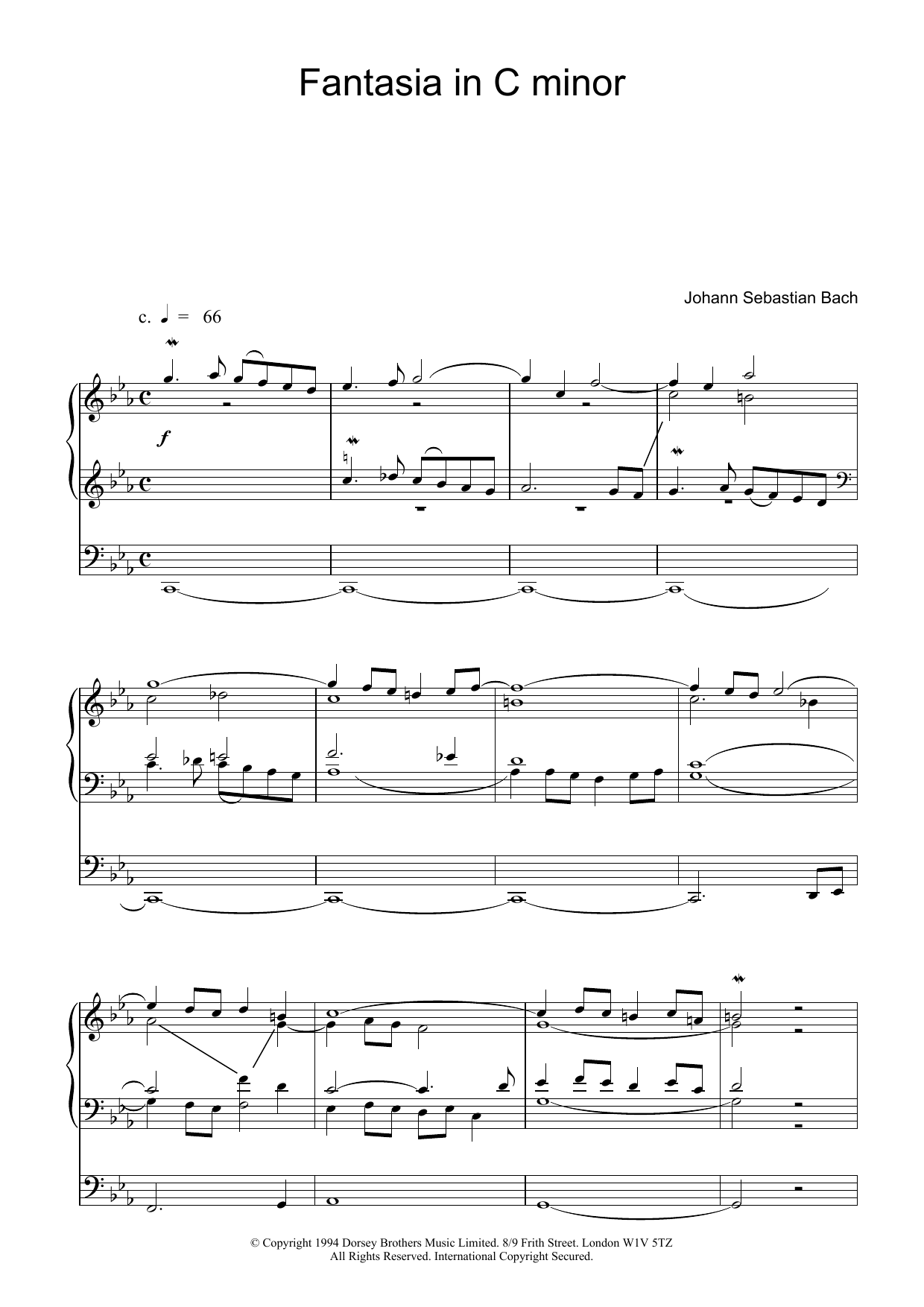 Fantasia and Fugue in C Minor, BWV 537 Sheet Music