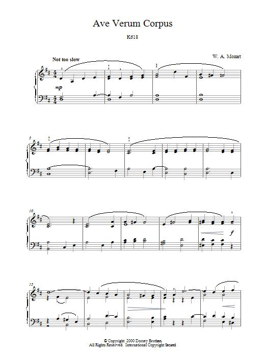 Ave Verum Corpus, K618 Sheet Music