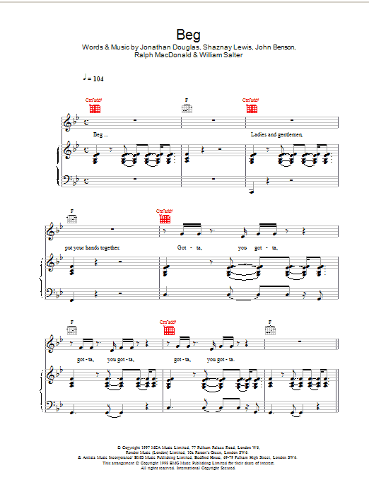 Beg Sheet Music