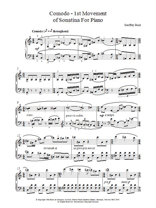 Comodo - 1st movement of Sonatina for Piano Sheet Music