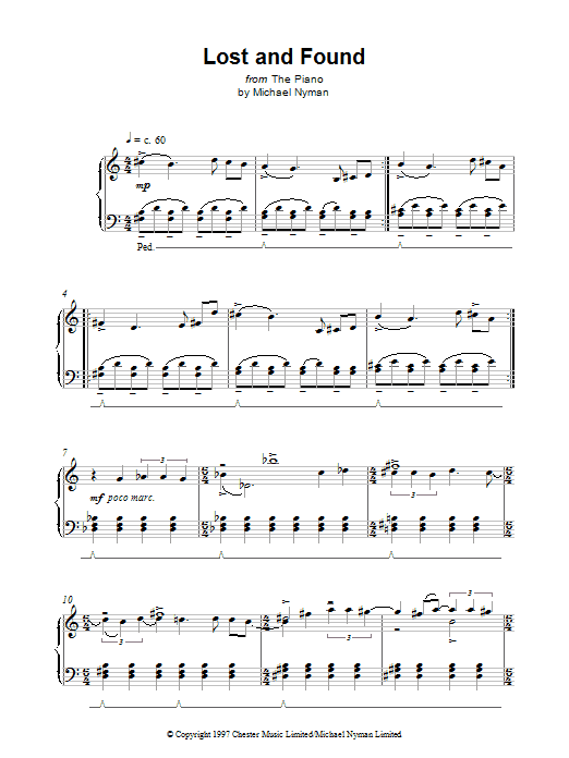 Lost And Found (from The Piano) Sheet Music