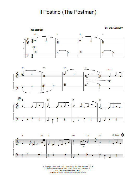 Il Postino (from The Postman) Sheet Music