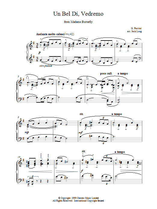 Un Bel Di, Vedremo From Madame Butterfly Sheet Music