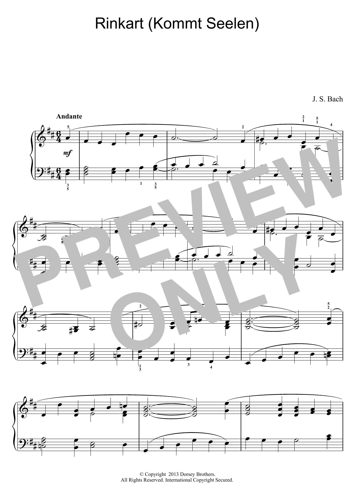 Rinkart (Kommt Seelen) Sheet Music
