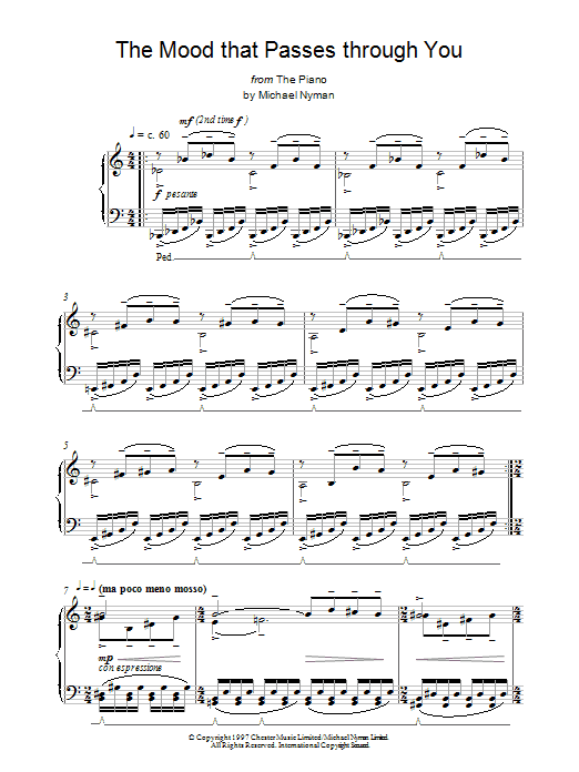 The Mood That Passes Through You (from The Piano) Sheet Music