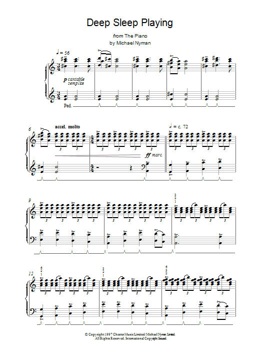 Deep Sleep Playing (from The Piano) Sheet Music