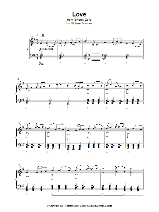 Love (from Enemy Zero) Sheet Music