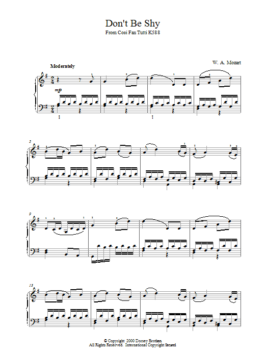 Don't Be Shy (from Cosi Fan Tutti, K588) Sheet Music