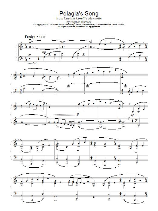 Pelagia's Song (Ricordo Ancor) (from Captain Corelli's Mandolin) Sheet Music