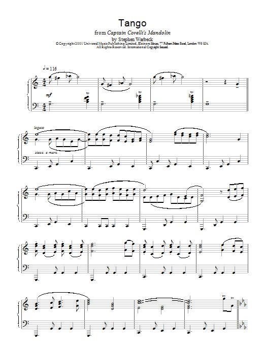 The Tango (from Captain Corelli's Mandolin) Sheet Music