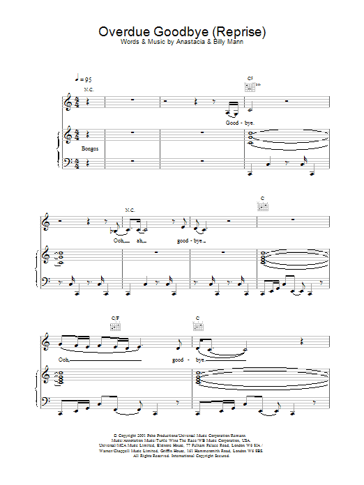 Overdue Goodbye (reprise) Sheet Music