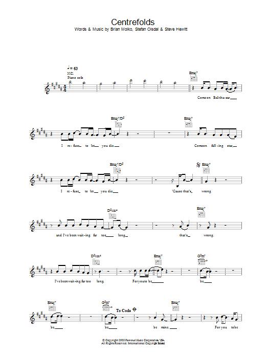 Centrefolds Sheet Music