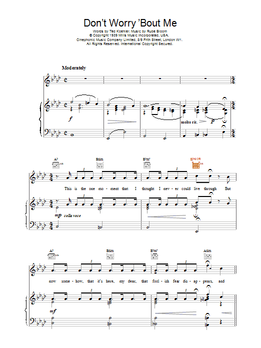 Don't Worry 'Bout Me Sheet Music