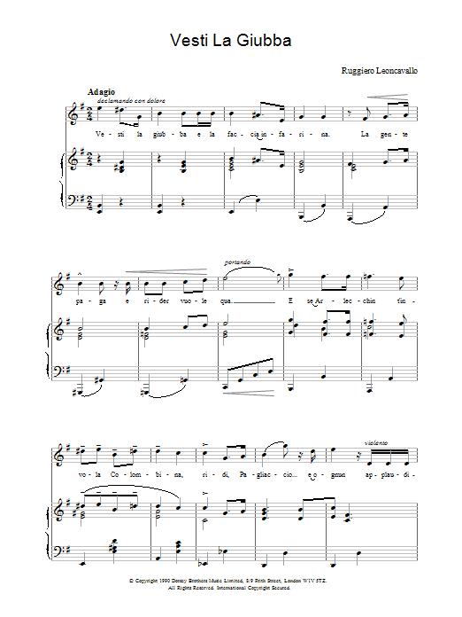 Vesti La Giubba Sheet Music