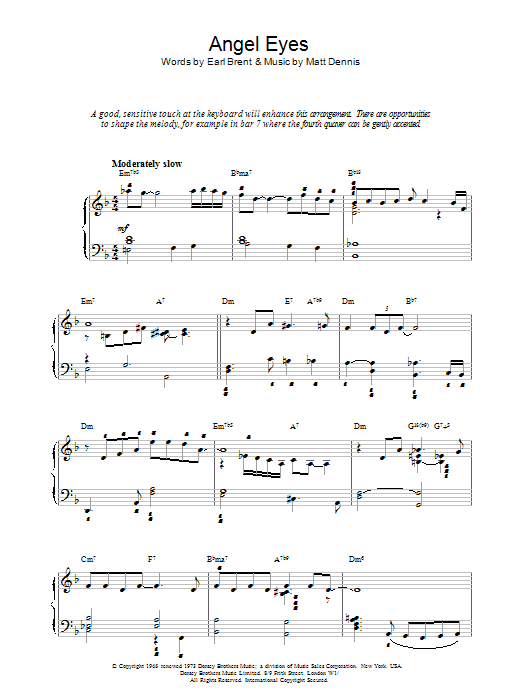 Angel Eyes Sheet Music