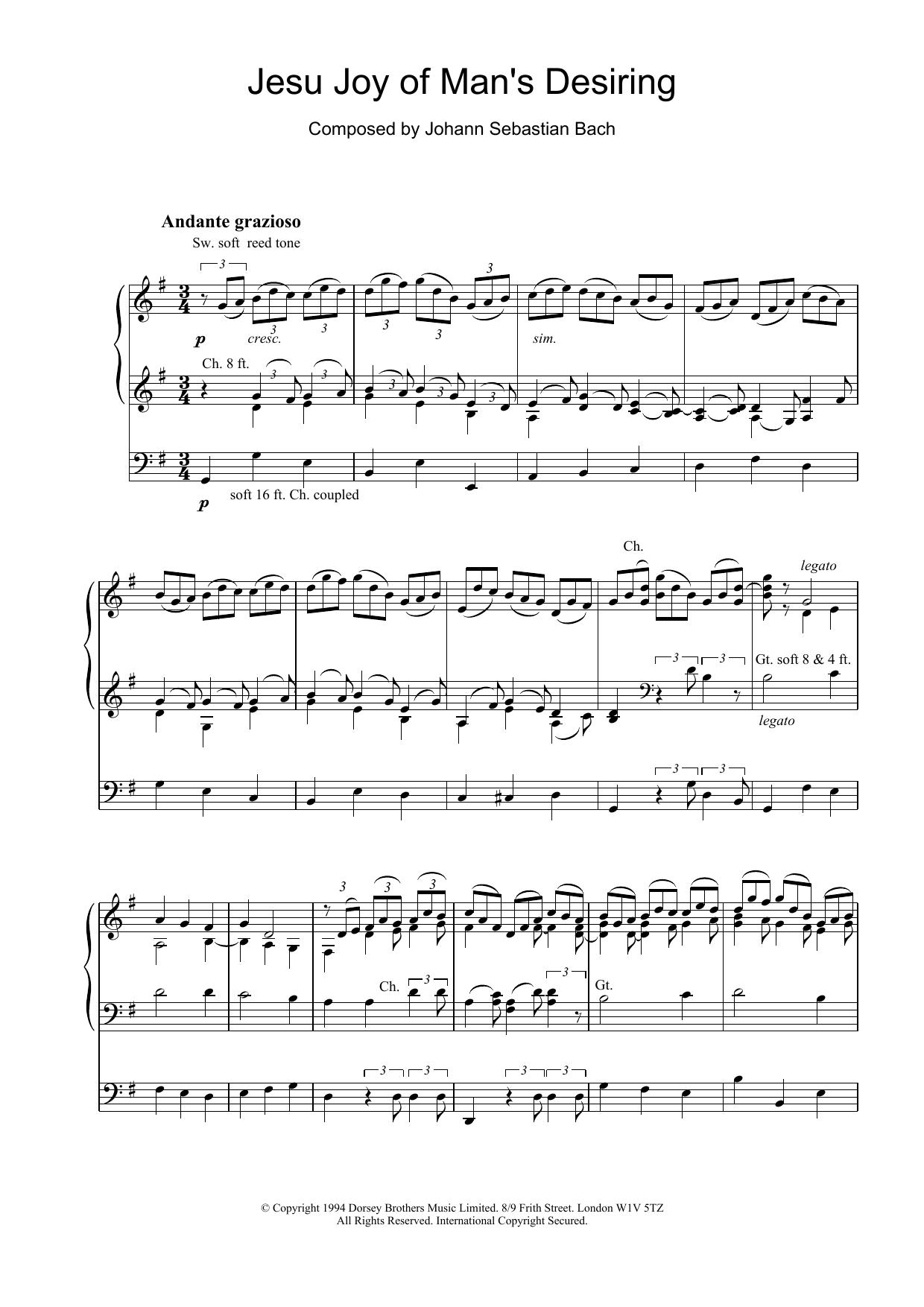 Jesu, Joy Of Man's Desiring (from Cantata 147) | Sheet Music Direct