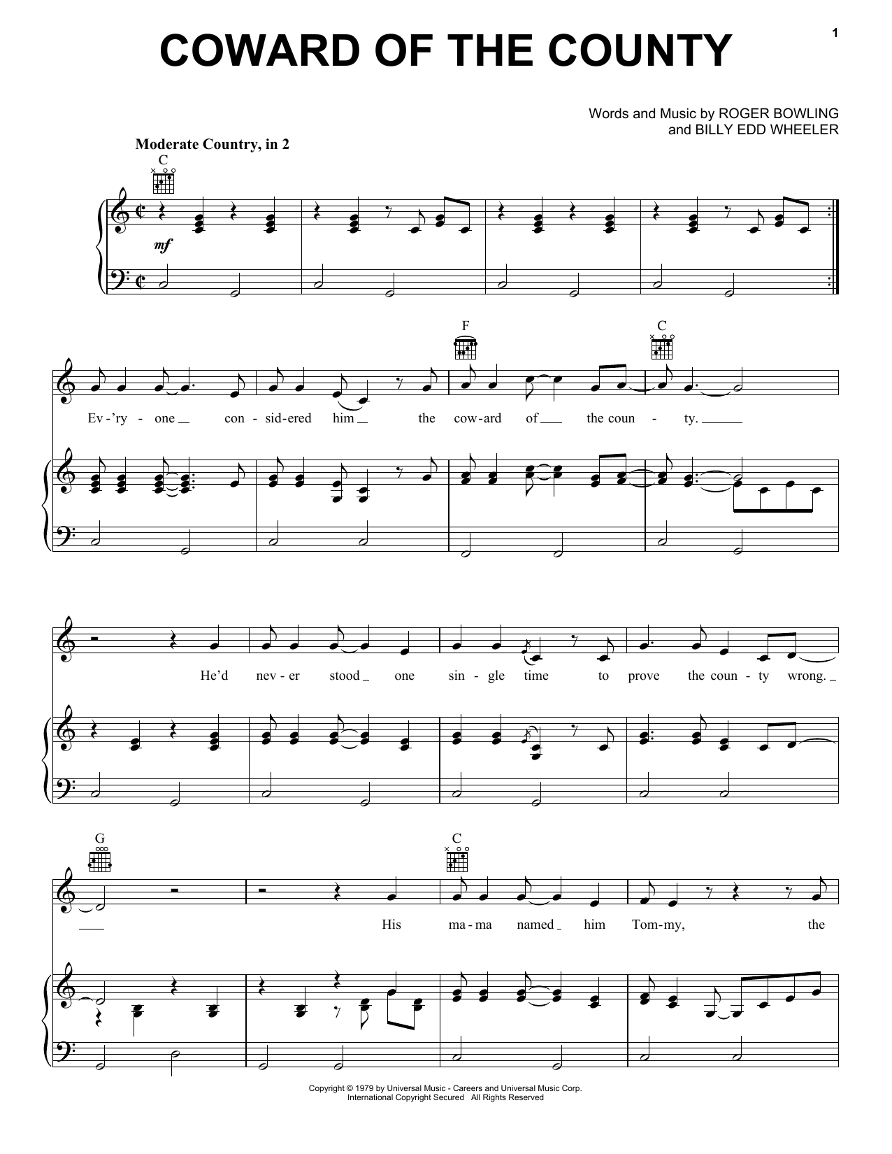 Coward Of The County Sheet Music