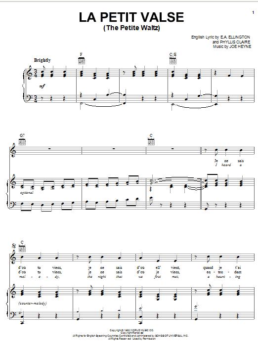Partition piano The Petite Waltz de Erroll Garner - Piano Voix Guitare (Mélodie Main Droite)