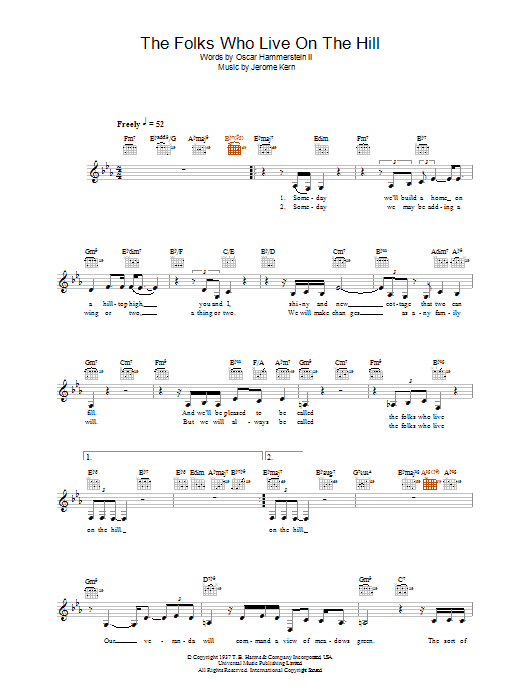 The Folks Who Live On The Hill Sheet Music