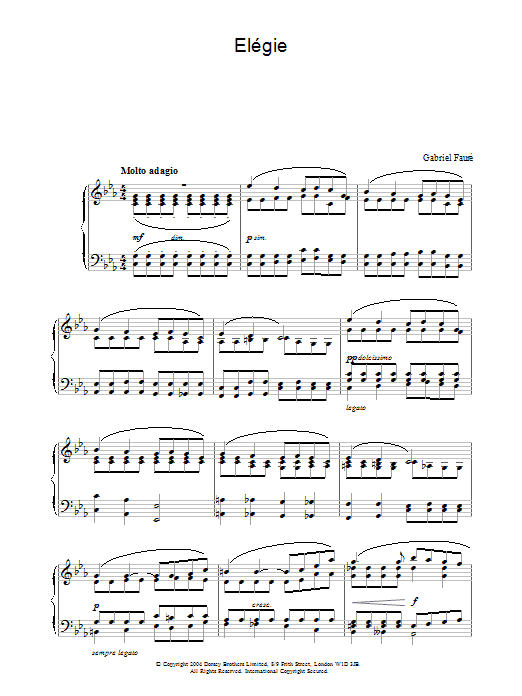 Elégie Sheet Music
