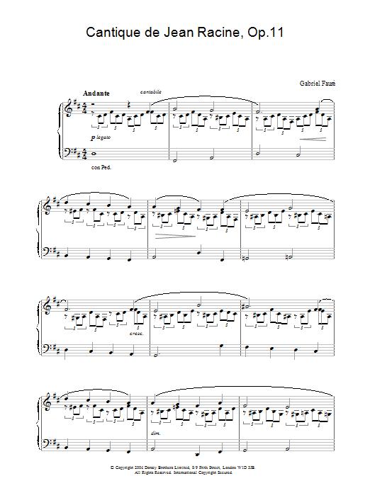 Cantique de Jean Racine, Op.11 (Piano Solo)