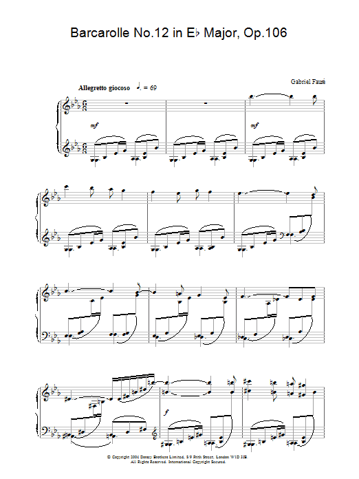 Barcarolle No.12 in E Flat Major, Op.106 Sheet Music