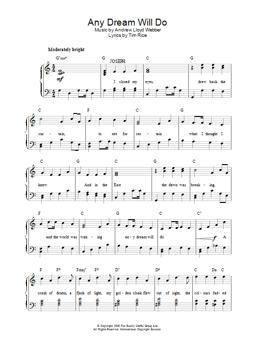 Any Dream Will Do (from Joseph and the Amazing Technicolor Dreamcoat) (Easy Piano)