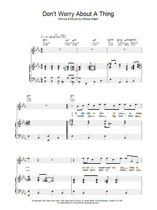 Don't Worry About A Thing Sheet Music