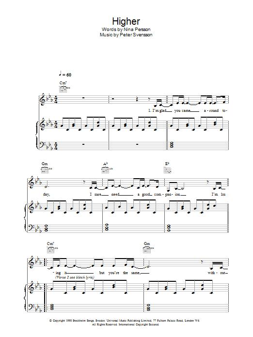 Higher (Piano, Vocal & Guitar)
