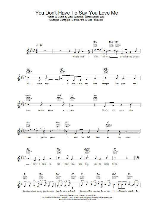 You Don't Have To Say You Love Me Sheet Music