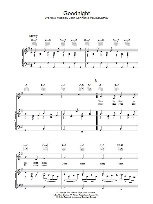 Goodnight (Piano, Vocal & Guitar)