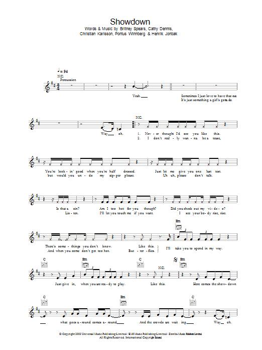Showdown Sheet Music