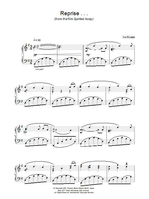 Reprise … (from Spirited Away) Sheet Music