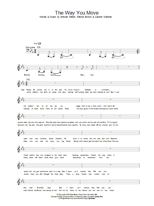 The Way You Move Sheet Music