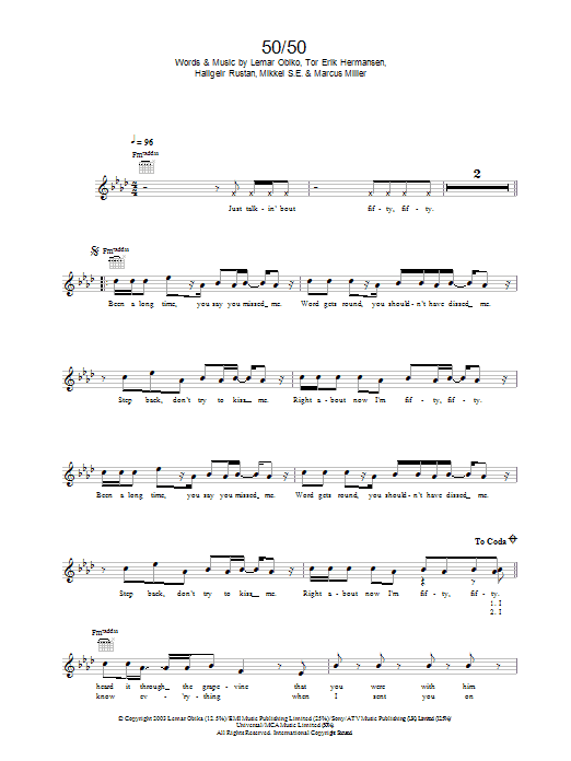 50/50 Sheet Music
