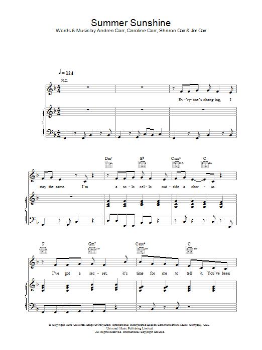 Summer Sunshine (Piano, Vocal & Guitar)