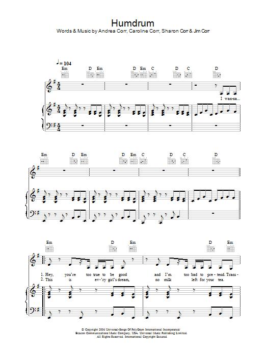 Humdrum Sheet Music