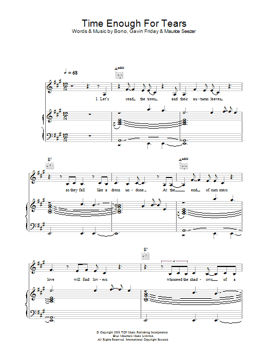Time Enough For Tears Sheet Music