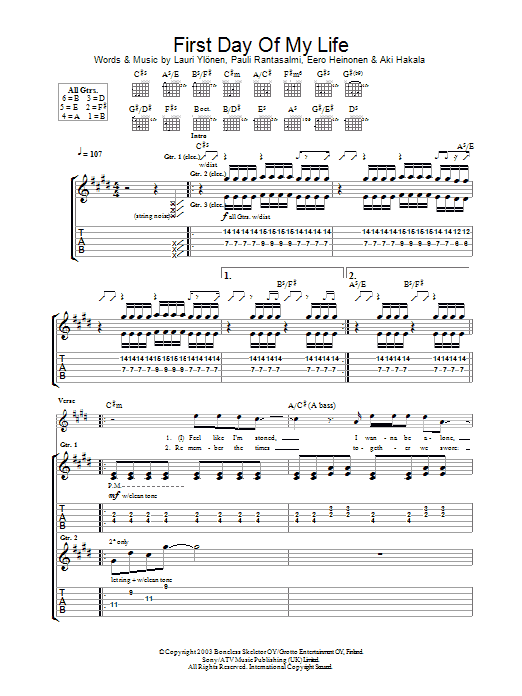 First Day Of My Life Sheet Music The Rasmus Guitar Tab