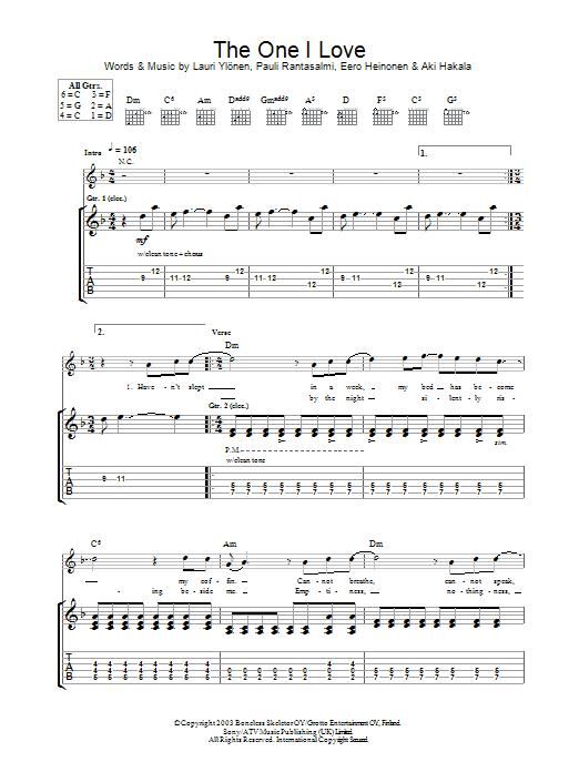 The One I Love (Guitar Tab)