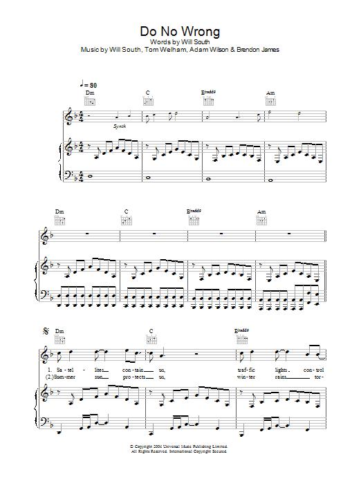 Do No Wrong (Piano, Vocal & Guitar)