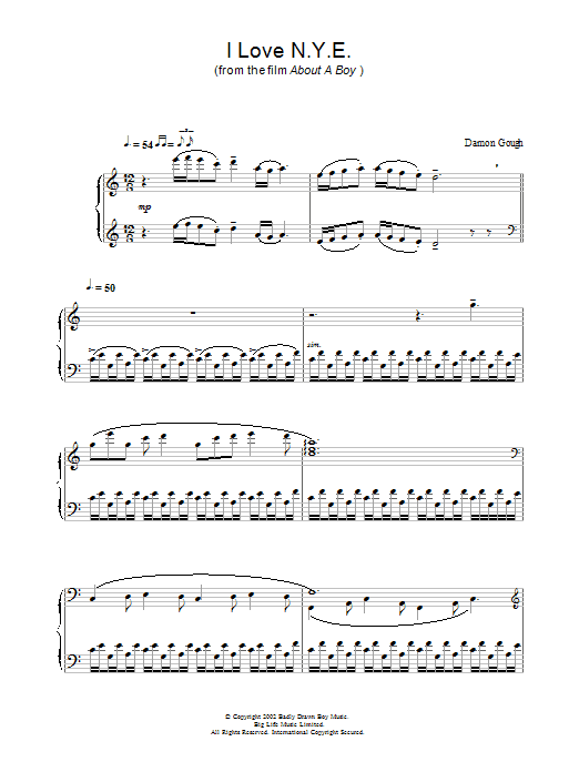 I Love N.Y.E. (from About A Boy) Sheet Music